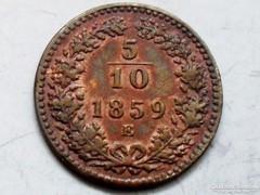 5/10 kr. 1859-E-Gyulafehérvár!-aUNC-UNC! - NAGYON  RITKA!!!