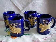 Kék aranyozott horoszkópos bögre, csésze, különféle