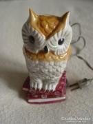 Régebbi porcelán bagoly éjjeli lámpa jelzett