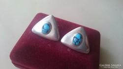 Ezüst türkizkövekkel díszített fülbevaló 925