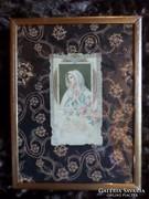Imakönyvbe való, szentkép egyszerű keretben 20x15 cm