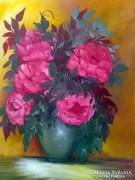Csendélet,Olajfestmény,vászon 70 x 50-kerettel