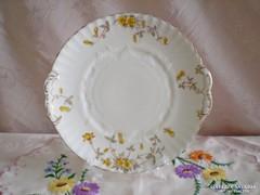 Jelzett porcelán süteményes vagy kínáló tál / sárgás virágos