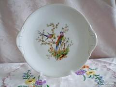 Jelzett porcelán süteményes v. kínáló tál/paradicsommadaras
