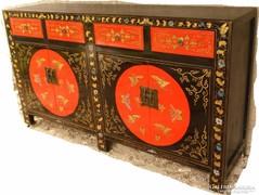 Kínai tradicionális, nagyméretű, kézzel festett komód