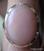 925 ezüst gyűrű, 17,5/55 mm, pink opállal