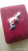 Ezüst szines kis delfin medál 925