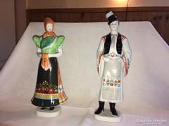 Hollóházi porcelán figura pár
