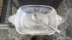 Barker Ellis készítésű angol ezüstözött szervír tál és kanál