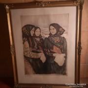 Glatz Oszkár: Bujáki lányok rézkarc