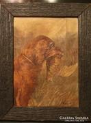 Heyer Artur (1872 - 1931) : Kutya zsákmányával. Olaj,vászon