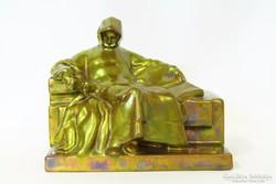 Régi Zsolnay körpecsétes Anonymus figura
