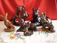 Mázas kerámia szarvas, kutya, róka, oroszlán, kacsa
