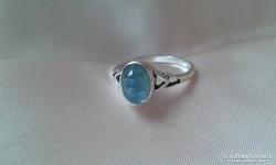 Akvamarin kővel ezüst gyűrű