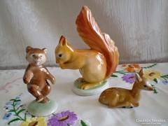 Régi Kispesti porcelán őz, mókus és táncoló maci