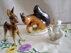 Régi porcelán őz, Drasche hempergő maci és Bodrog mókus