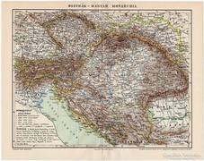 Osztrák - Magyar Monarchia térkép 1898, eredeti, antik