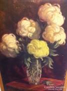 Komáromi Katz Endréné, virágcsendélet, olaj, vászon, 75X54cm