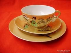 Ritka antik japán jelenetes tojáshéj porcelán teázó szett