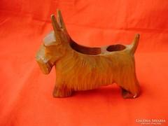 Ritka antik faragott asztali tolltartó skót terrier