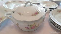 Zsolnay rózsás virágos porcelán barokk étkészlet 23db