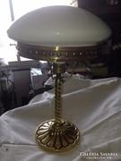 Fehér búrás réz asztali lámpa cca. 1920