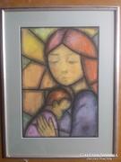 Mária a gyermekkel ,pasztell