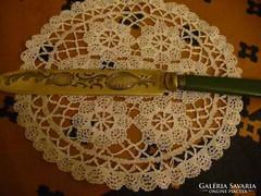 Antik recés élű díszes ezüstözöt kés