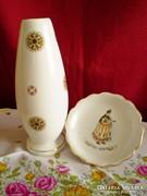 Aquincumi különleges porcelán váza 16 cm és tálka