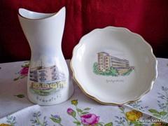 Aquincumi porcelán váza 9 cm és tálka Kékestető Galyatető