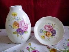 Aquincumi virág csokros porcelán váza 10 cm és tálka