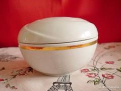 Ritka Aquincumi fehér porcelán bonbonier arany csíkkal