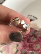 Csodálatos ezüst gyűrű brill csiszolású kövekkel 17mm