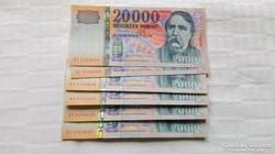 2008-as 20000.-Ft ,bankjegy, számkövető    4.db