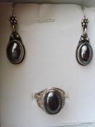 Antik ónix köves ezüst szett fülbevaló és medál