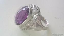 Gyönyörű valódi Ametiszt kővel díszített ezüst gyűrű