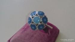 Ezüst gyűrű kék tűzzománc díszítéssel 925