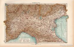 Észak - Olaszország térkép 1904, eredeti, Moritz Perles