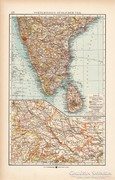 Dél - India (Hindusztán) térkép 1904, eredeti, Moritz Perles
