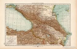 Kaukázusi országok térkép 1904, eredeti, Moritz Perles