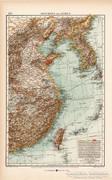 Kelet - Kína és Korea térkép 1904, eredeti, Moritz Perles