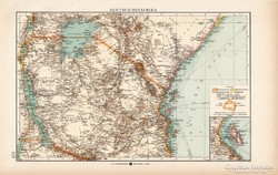 Német Kelet - Afrika térkép 1904, eredeti, Moritz Perles