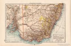 Dél - Ausztrália térkép 1904, eredeti, Moritz Perles