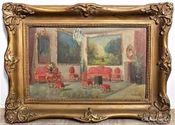Burchard Bélaváry István (1864-?) Enteriőr antik festménye