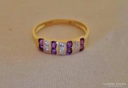 Szépséges ametiszt és gyémántköves arany gyűrű