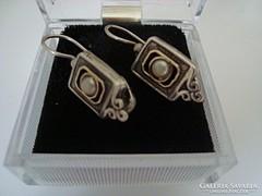 Izraeli kézműves ezüst fülbevaló 9k arany széllel
