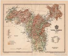 Nyitra vármegye térkép 1896, antik, eredeti