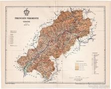 Trencsén vármegye térkép 1897, antik, eredeti