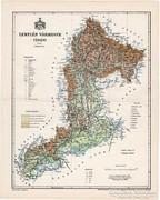 Zemplén vármegye térkép 1897, régi, antik, eredeti