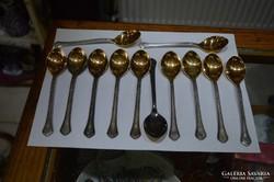 12 db szovjet ezüstözött, aranyozott teás kanál